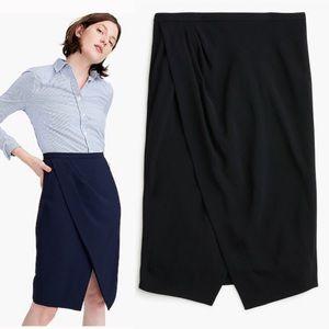 J Crew Black asymmetrical pencil skirt petite